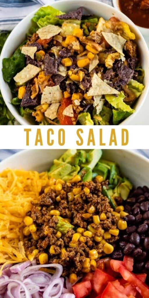 Collage of taco salad photos with recipe title in middle of photos