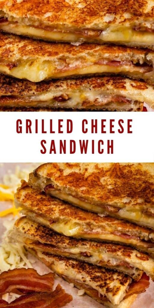 Photo collage of grilled cheese sandwiches with recipe title in middle of two photos