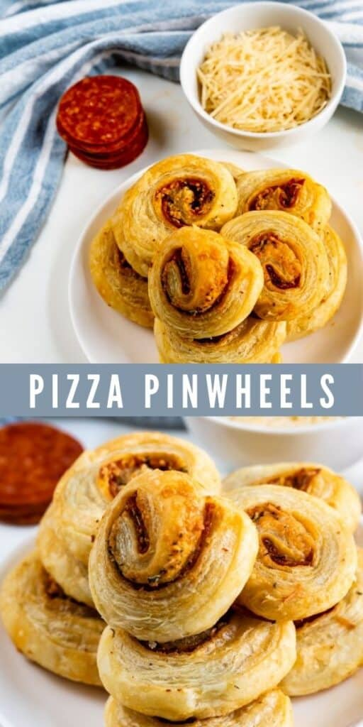 Photo collage of pizza pinwheels with recipe title in between two photos
