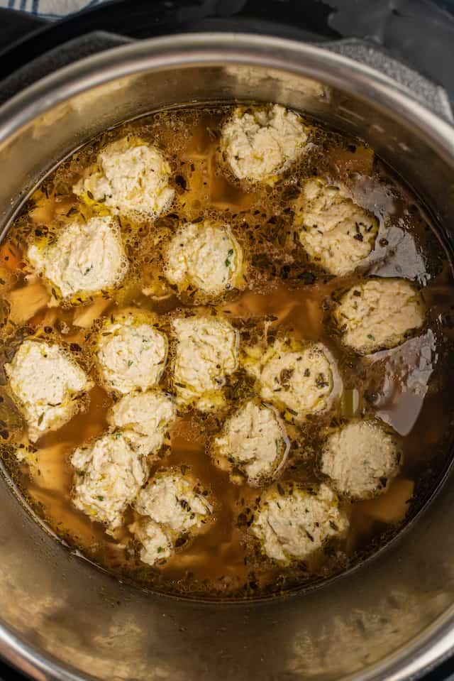 Overhead shot of dumplings being cooked in instant pot