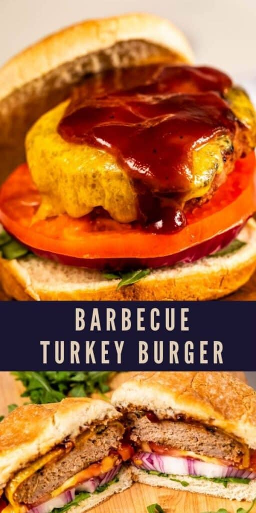 Photo collage of barbecue turkey burgers with recipe title in between the two photos
