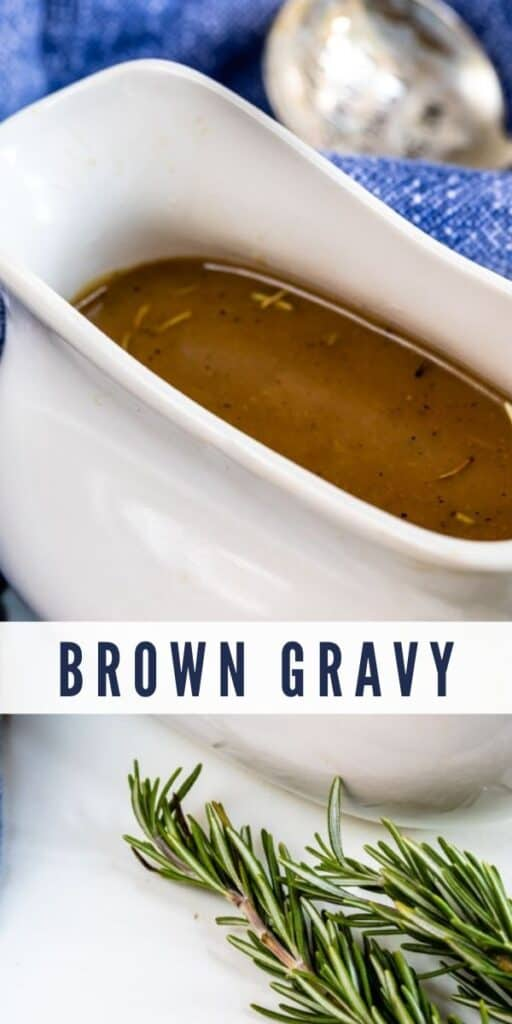 Brown gravy in a white gravy boat with thyme next to it and recipe title on photo