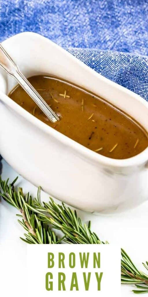 Brown gravy in a white gravy boat with thyme next to it and recipe title on bottom of photo
