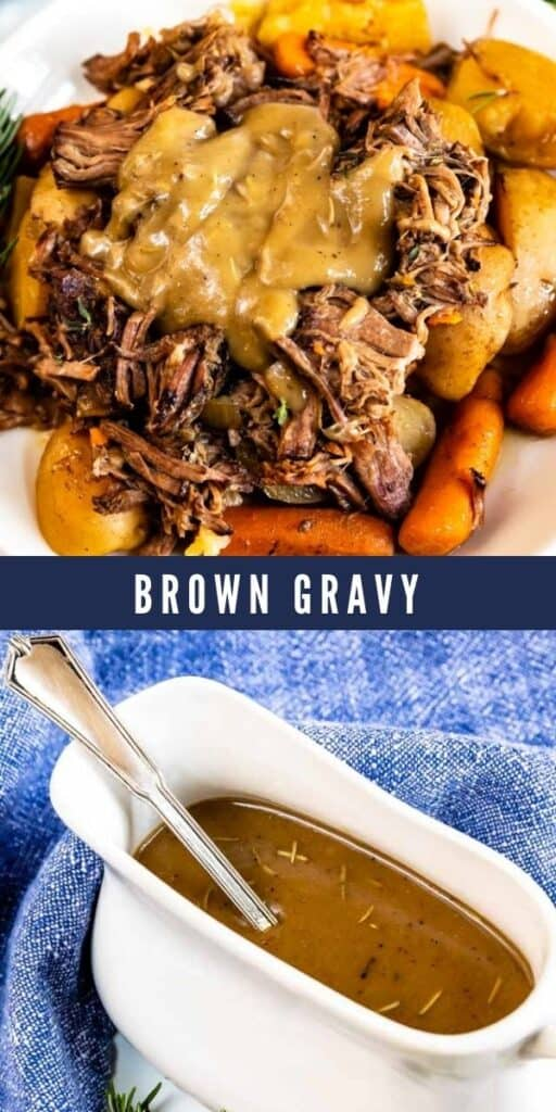 Photo collage showing brown gravy in a dish and on pot roast with recipe title in between the two photos