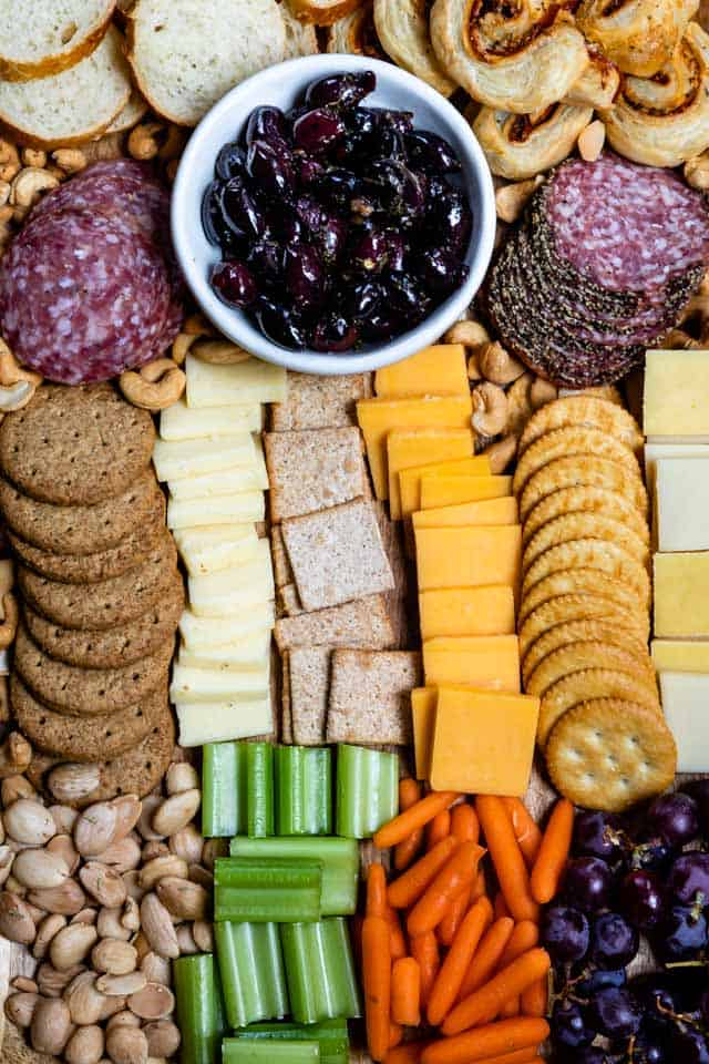 Overhead shot of finished charcuterie board