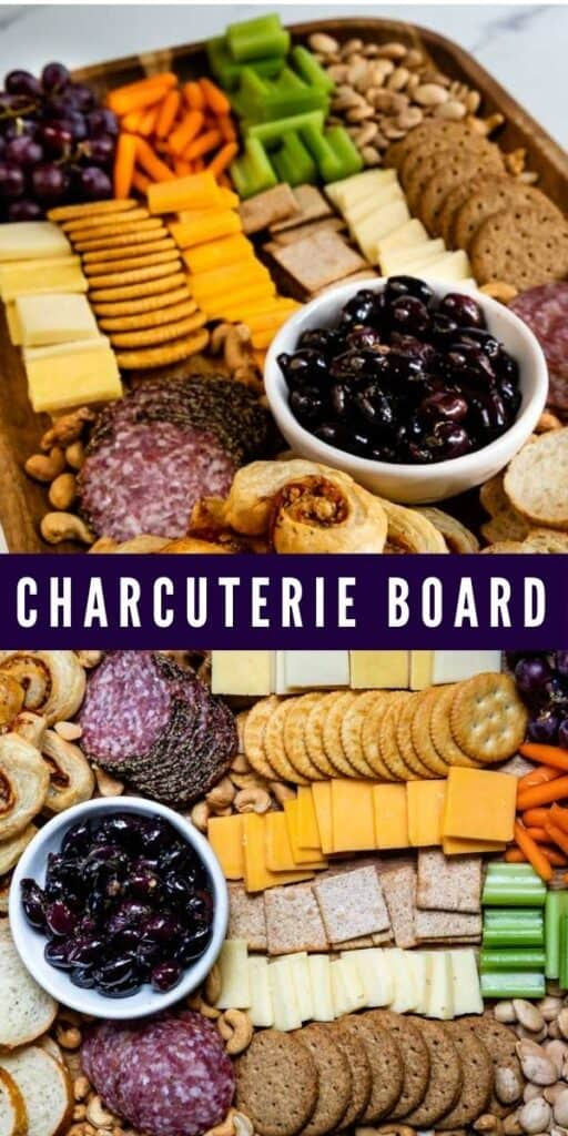 Photo collage of finished charcuterie boards with recipe title in middle of photos