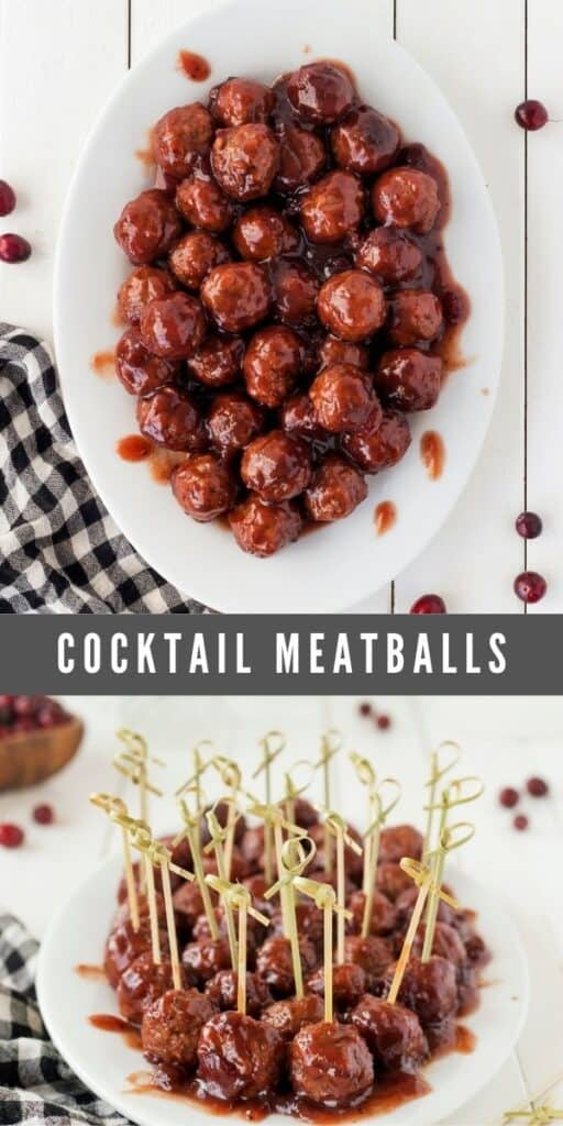 Photo collage of cocktail meatballs with recipe title in middle of collage