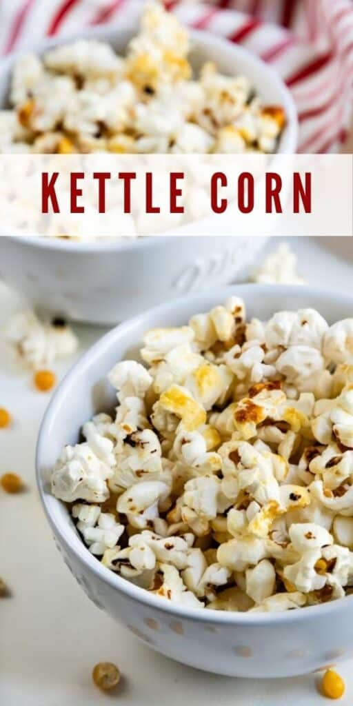 Close up of two bowls of kettle corn with recipe title on top of image