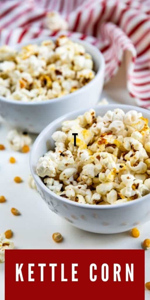 Two bowls of kettle corn with recipe title on bottom of image