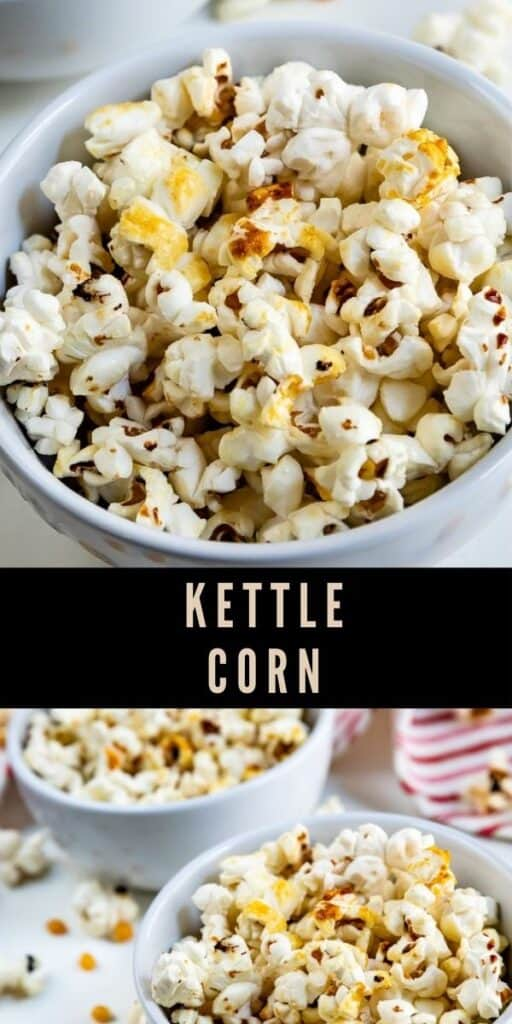 Photo collage of kettle corn with recipe title in between two photos