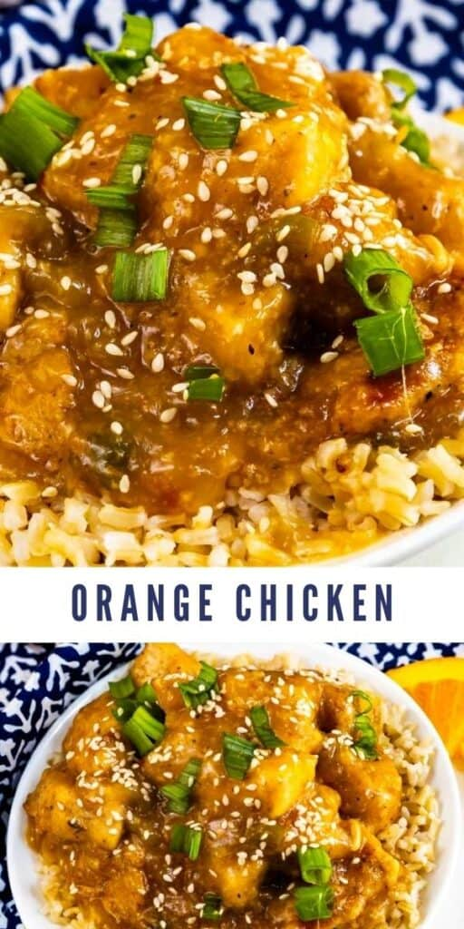 Two photo collage of orange chicken plated with recipe title in middle of two photos
