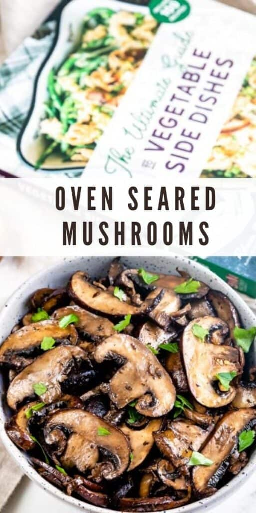 Oven seared mushrooms in a bowl next to a cookbook with recipe title in middle of photo