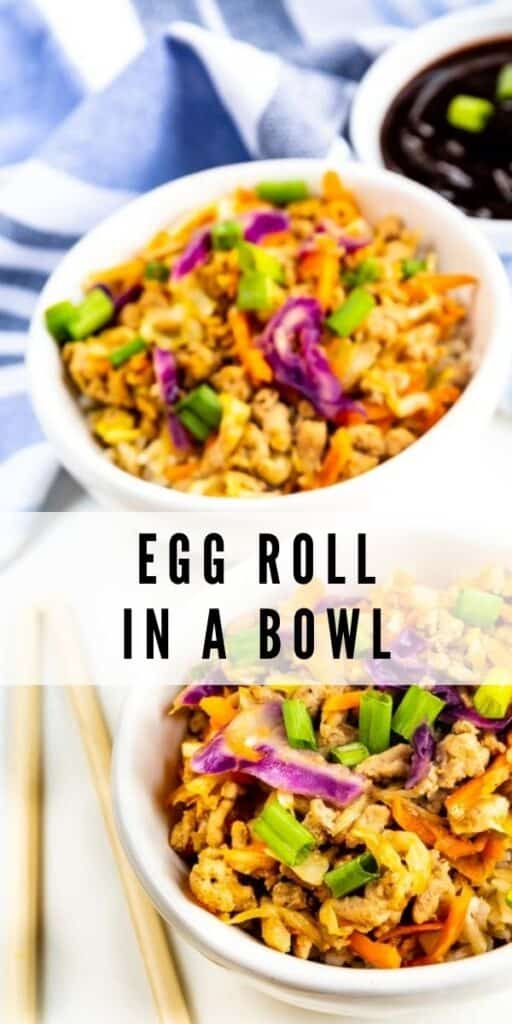 Two egg rolls in a bowl with chopsticks and dipping sauce and recipe title in middle of image