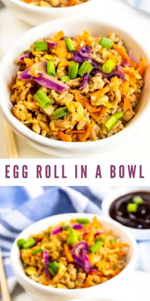 Photo collage of egg roll in a bowl with recipe title in between two photos
