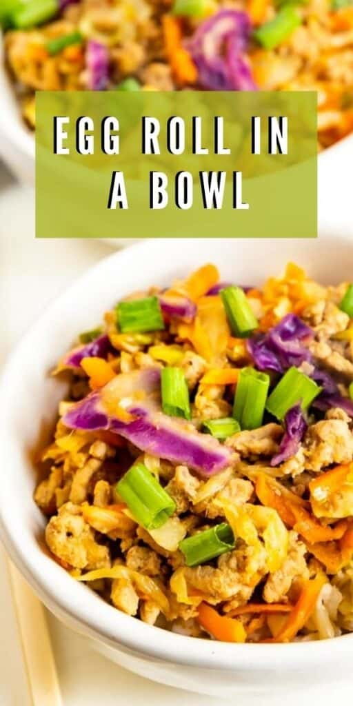 Close up shot of the egg roll in a bowl with recipe title on top of image
