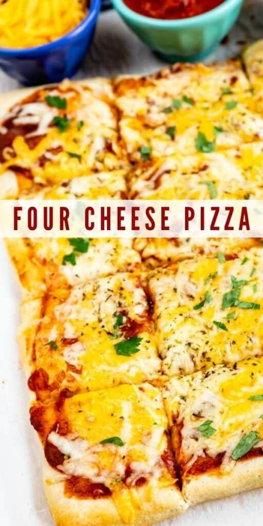 Close up of four cheese pizza cut into squares with recipe title in middle of photo