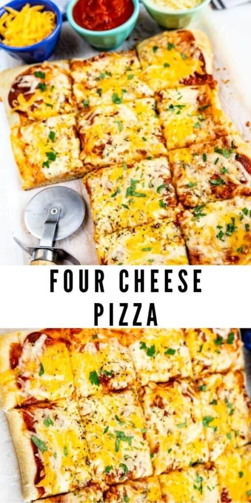 Photo collage of four cheese pizza with recipe title in between two photos