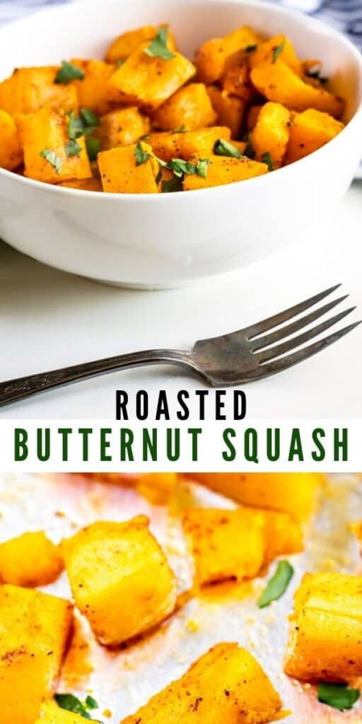 Photo collage of roasted butternut squash with recipe title in between two photos