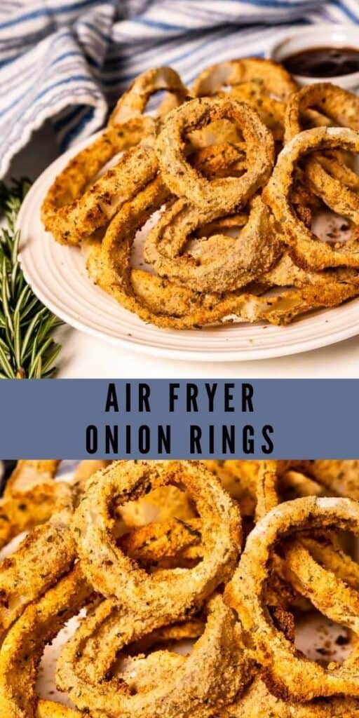 Photo collage of air fryer onion rings with recipe title in middle of photos