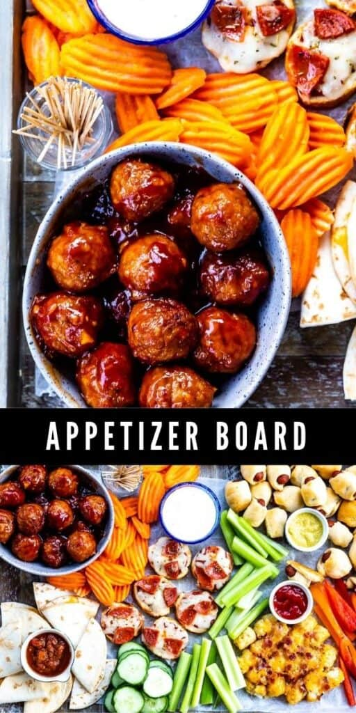 Collage showing all the different appetizers on this appetizer board with recipe title in middle of photos