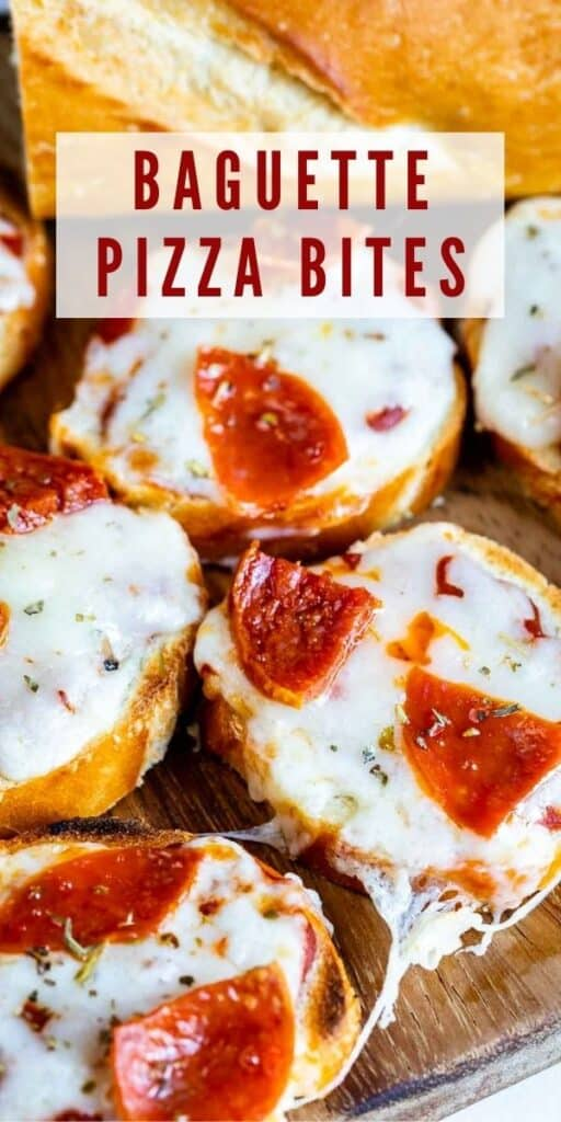 Baguette pizza bites on a wood cutting board next to a french baguette with recipe title on top of image