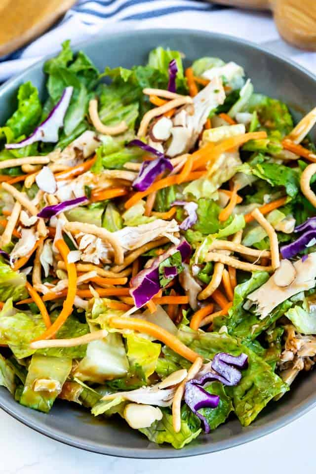 Overhead shot of individual bowl of chinese chicken salad