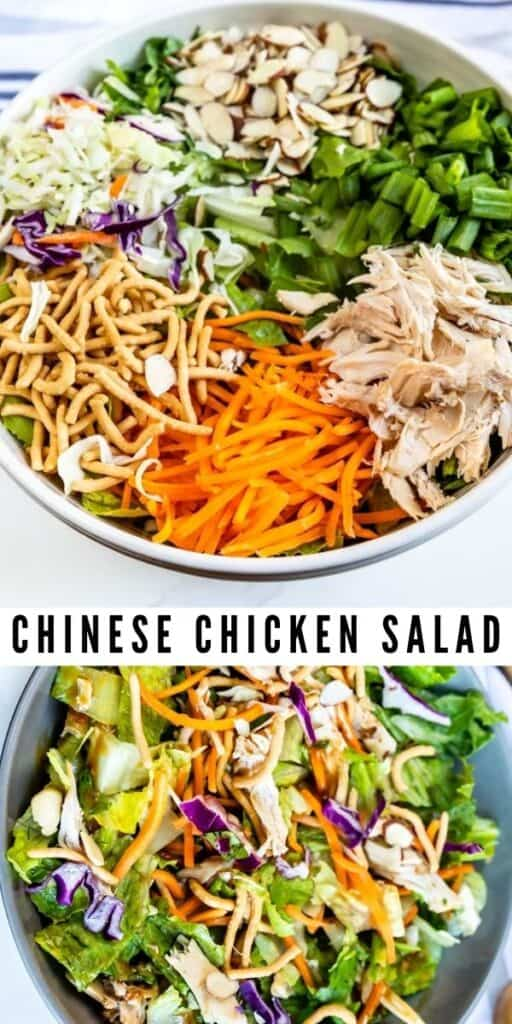 Photo collage showing chinese chicken salad with recipe title in the middle of two photos