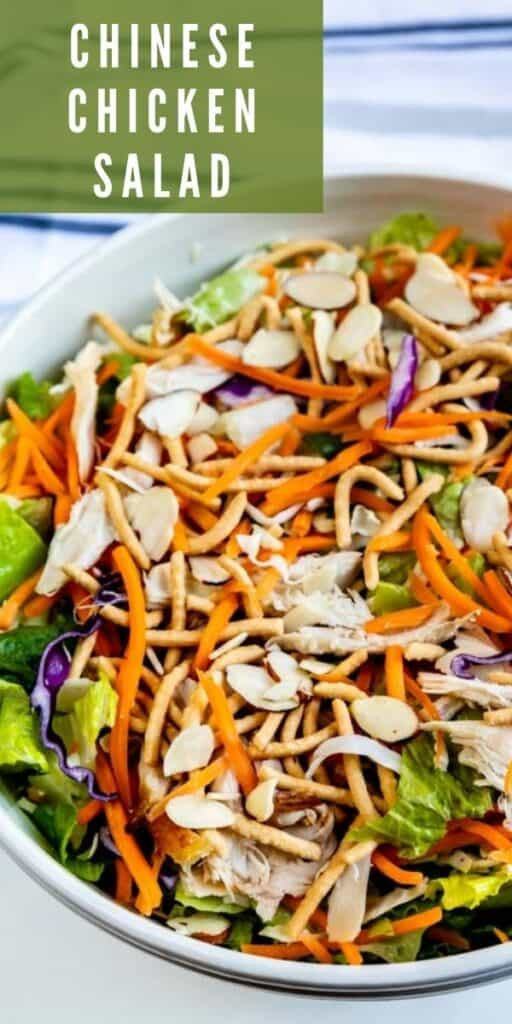 Close up photo of chinese chicken salad with recipe title in top right corner of photo