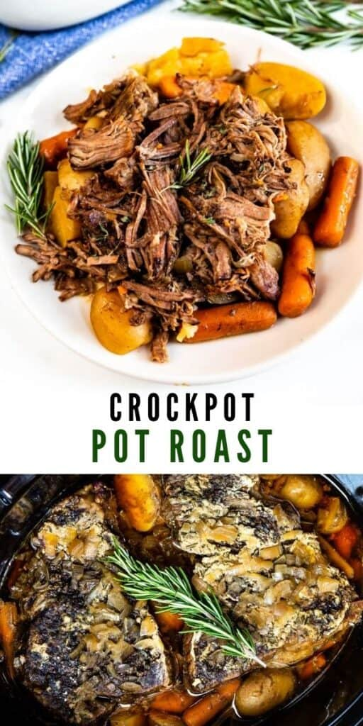 Photo collage of crockpot pot roast with recipe title in middle of photos