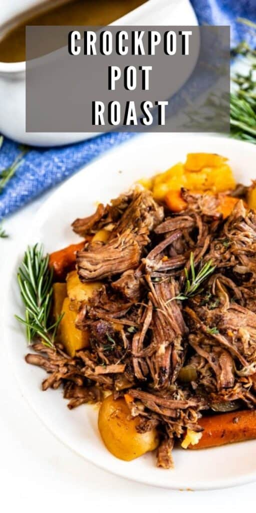 Plated crockpot pot roast with recipe title in upper right hand of photo