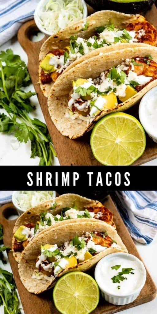 Photo collage of shrimp tacos with recipe title in between two photos