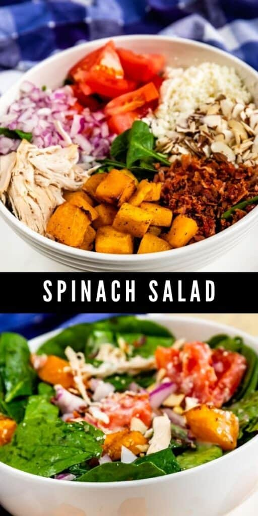 Photo collage showing spinach salad with recipe title in between the two photos