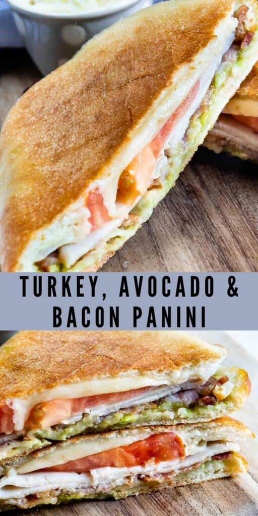 Photo collage showing turkey avocado bacon panini with recipe title in middle of photos