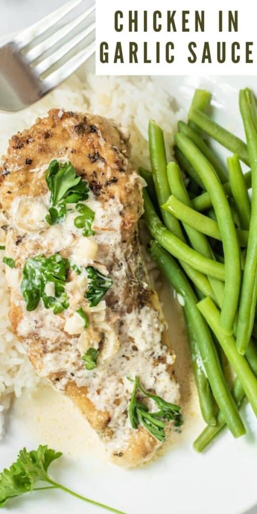 Overhead close up shot of plated chicken in garlic sauce next to green beans with recipe title in top right hand corner of photo