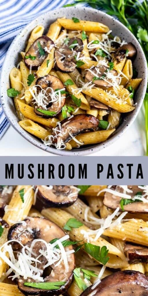 Two photo collage of mushroom pasta with recipe name in middle of photos