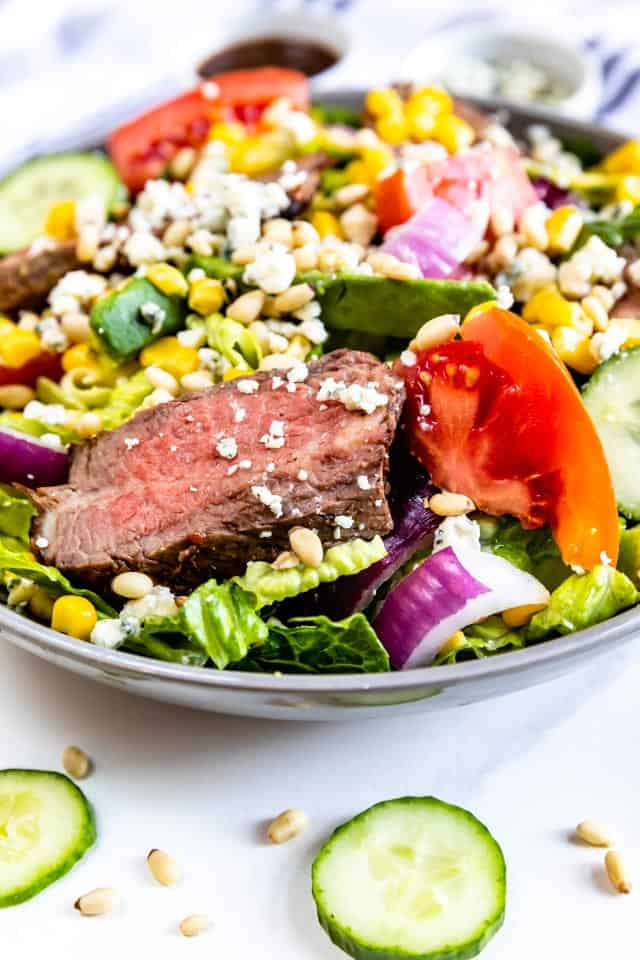 Large steak salad with all the toppings