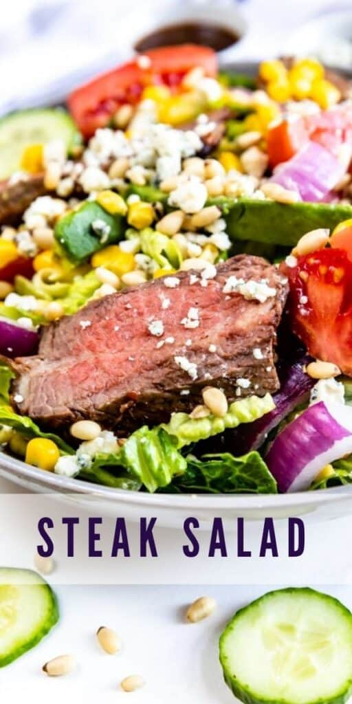 Steak salad in large bowl with recipe title on bottom of image