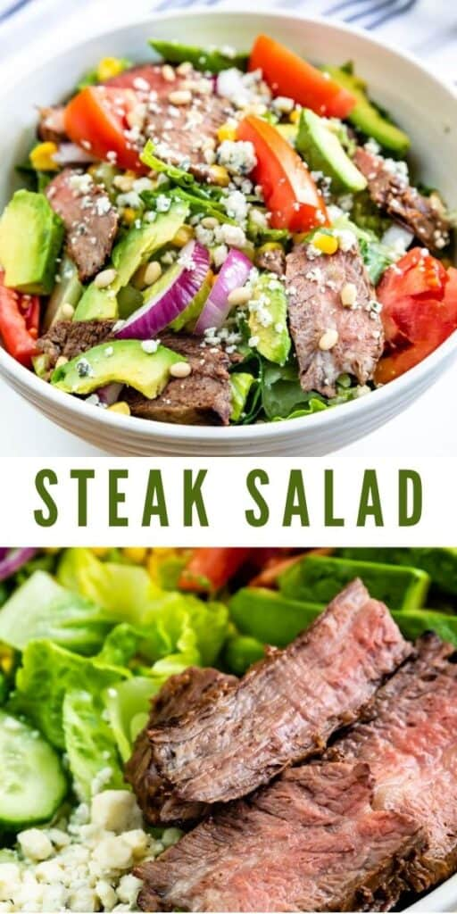Photo collage showing steak salad with recipe title in middle of two photos