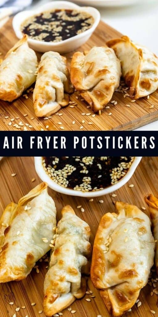 Collage of two photos showing air fryer potstickers with recipe title in between them