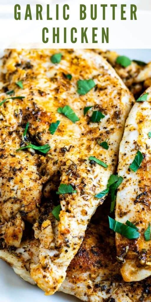Close up shot of garlic butter chicken breasts