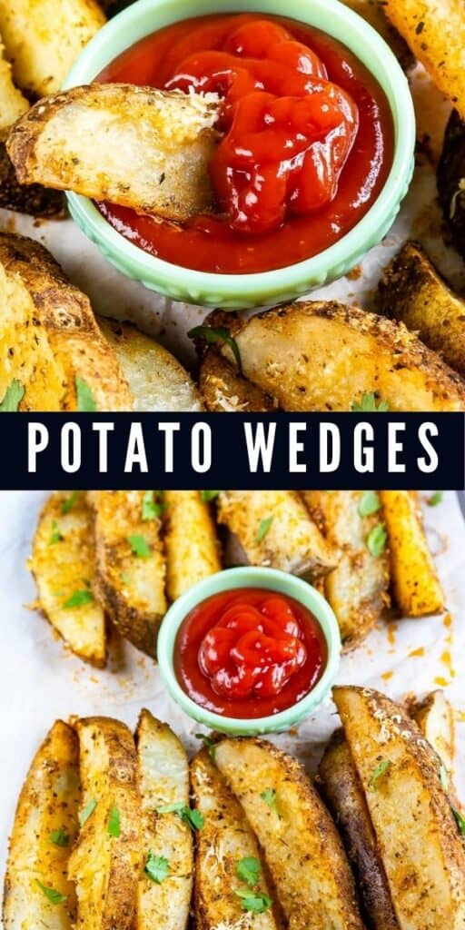 Two photos of potato wedges with ketchup and recipe title in middle of the photos