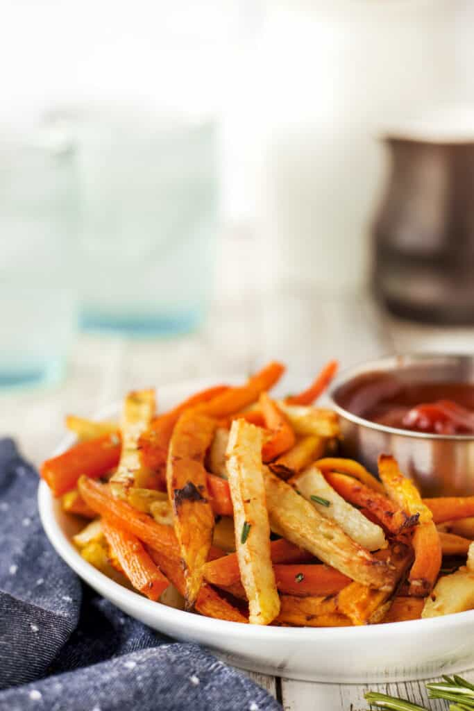Close up of air fryer trio rosemary fries with ketchup