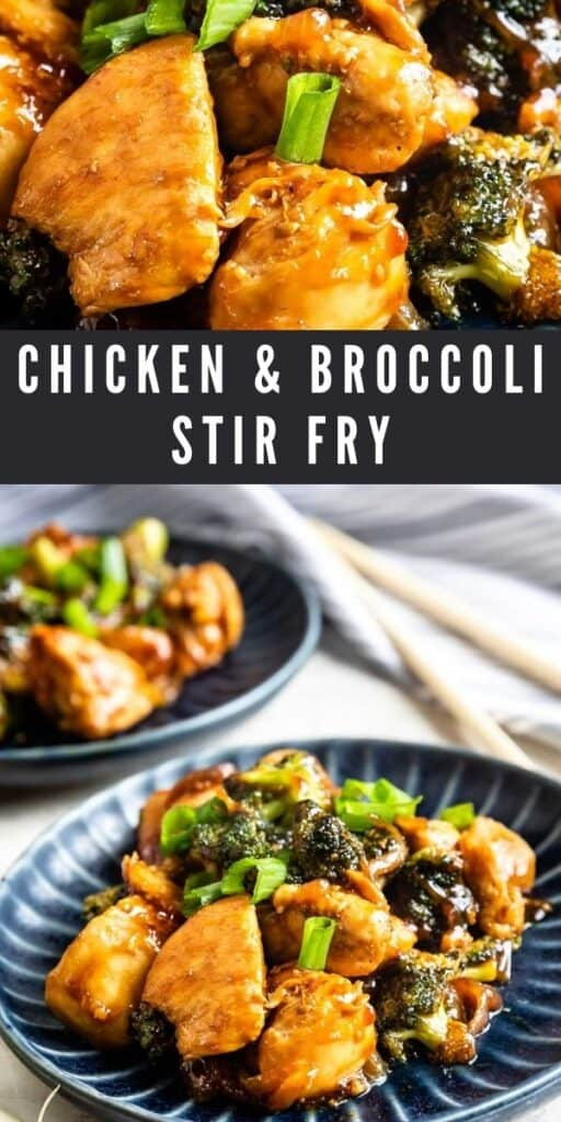 Photo collage of chicken and broccoli stir fry with recipe title in the middle of two photos