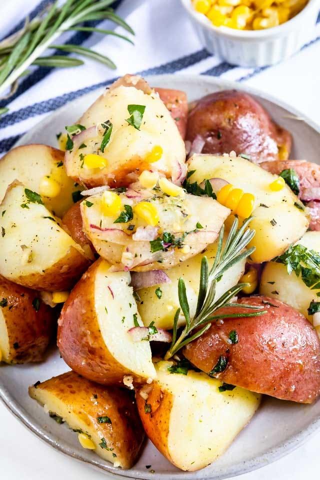 Close up overhead shot of garlic herb potato salad