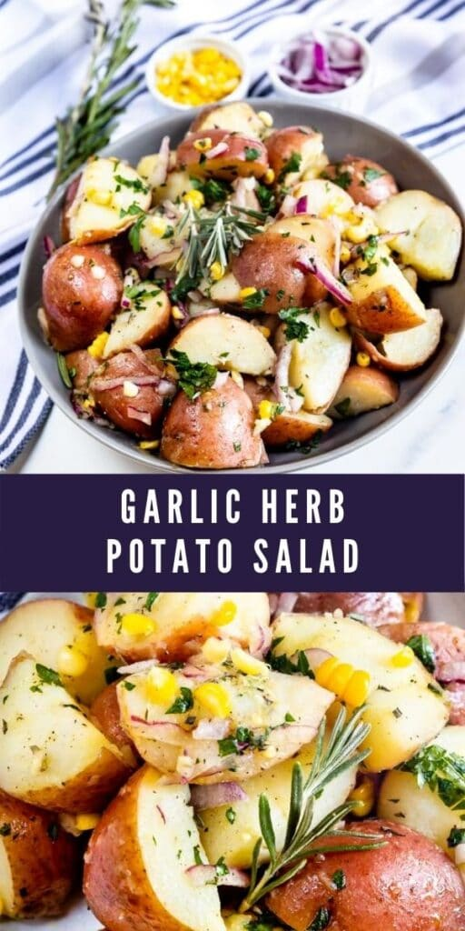 Photo collage showing garlic herb potato salad with recipe title in the middle of two photos