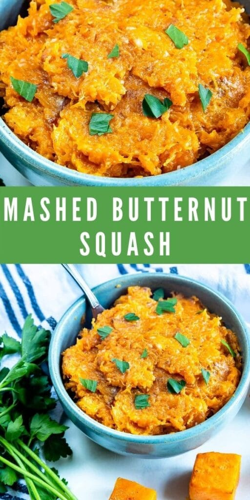 Photo collage of mashed butternut squash with recipe title in middle of photo