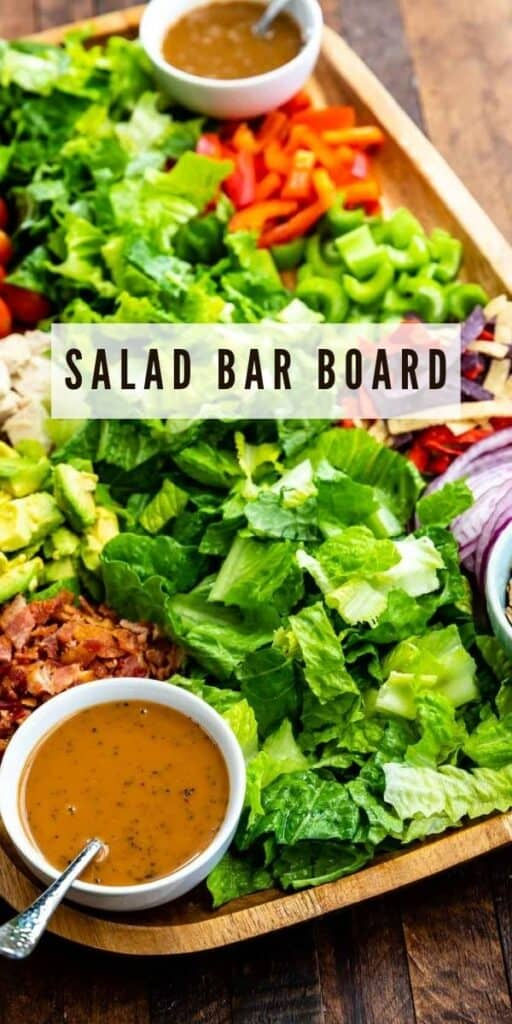Overhead view of the salad bar board with recipe title in the middle of photo