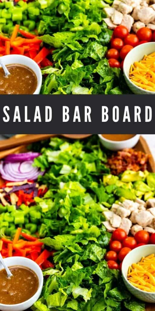 Photo collage of salad bar board with recipe title in the middle of two photos