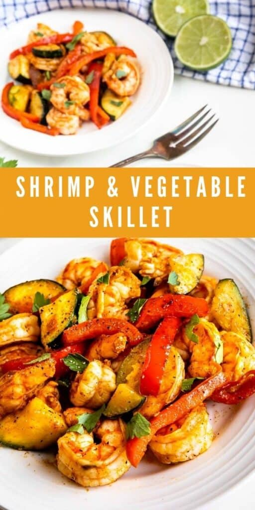 Photo collage showing shrimp and vegetable skillet dinner with recipe title in the middle