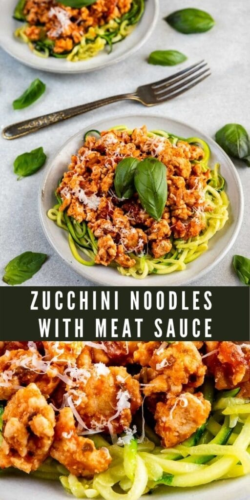 Photo collage of zucchini noodles with meat sauce and recipe title in the middle of photos